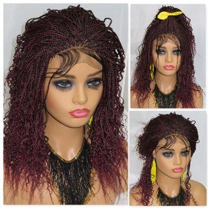 braided lace front wig, micro braids, red wig